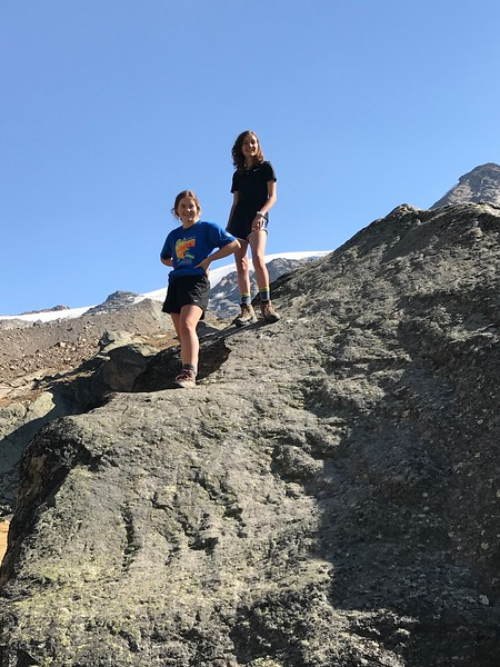 Terra and Sophia doing a little boulder climbing