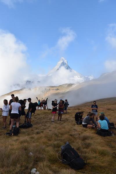 The Trift group on the Hohbalm trail heading toward the Matterhorn