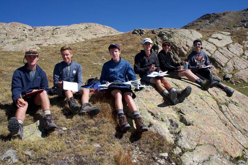 Jack, Michael, Riley, Edward, Hayes, and Aiden working on geology during their lab stop at Rotenboden