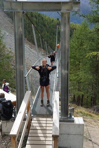Charlotte making it across the longest suspension bridge in the world in Randa