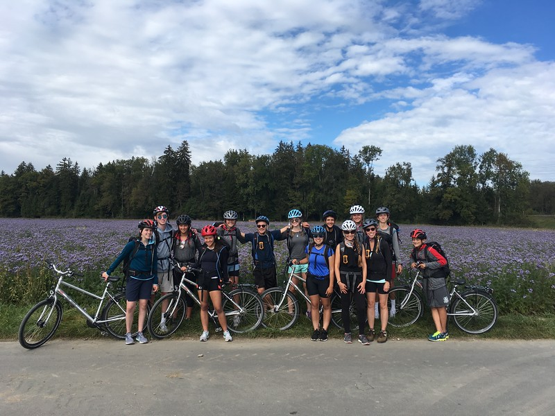 Bern bike trip (Aisling, Layton, Nicole, Allison, Ava, Mr. Taylor, Laine, Francesca, Aidan, Ms Brouillac, Elsa, Ms. Valentino, Will, and Ryan