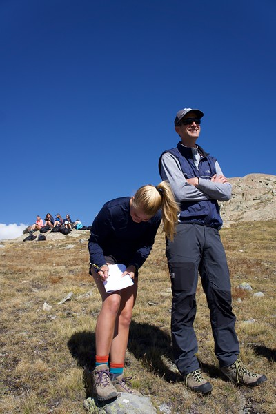 Elsa getting some assistance from Mr. Burkins on her geology lab