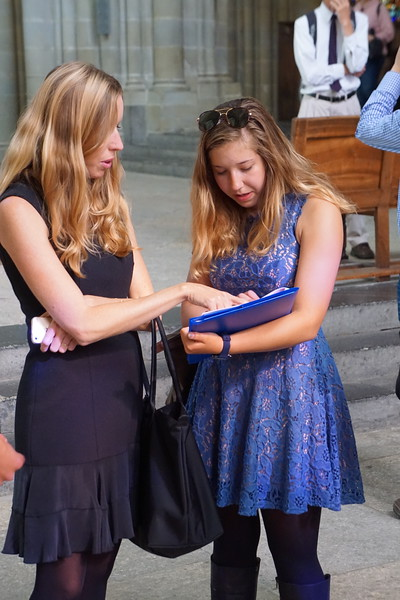 Ms. Valentino pointing out something to Emerson in the Lausanne Cathedral