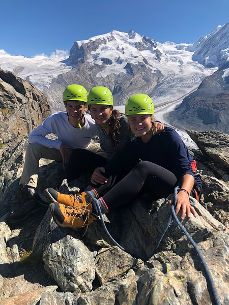 Gardiner, Nicole, and Elsa on Riffelhorn with Mont Blanc in the background