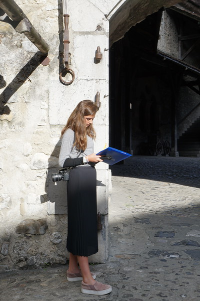 Ava working inside the Chillon Castle