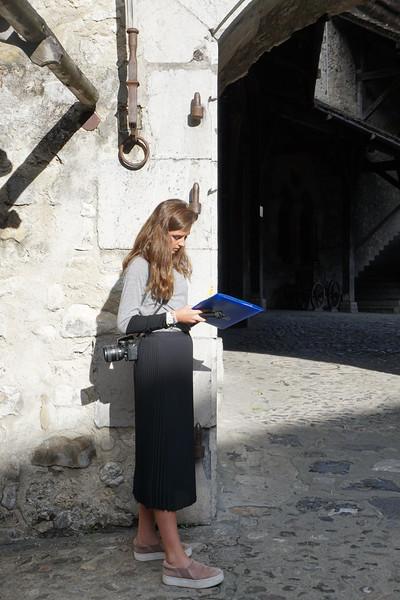 Ava working inside the Chillon Castle