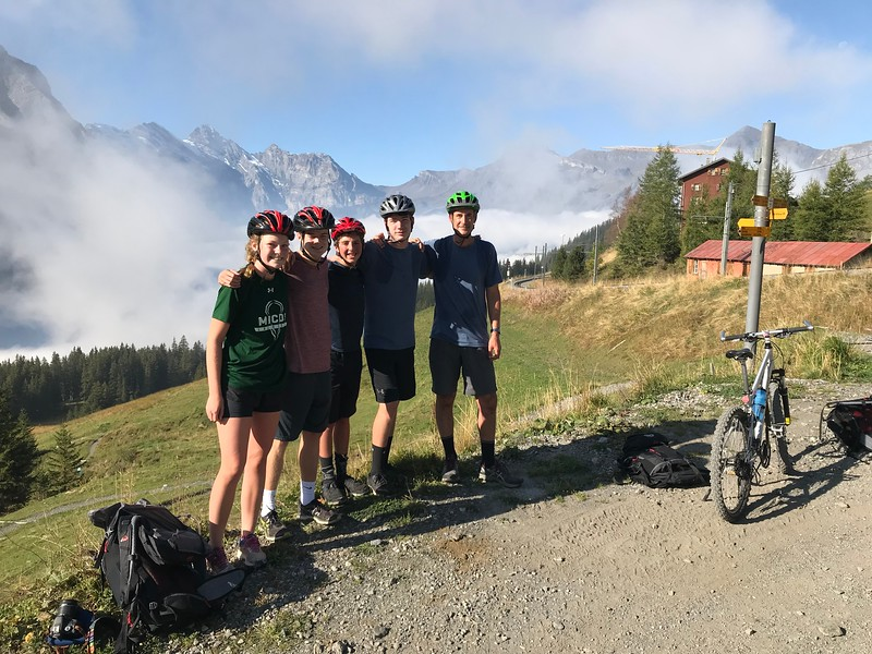 Wengen Bike trip at the top of Kleine Scheidegg (Ellie, Matthew, Hayes, Riley, and Mr. Burkins)