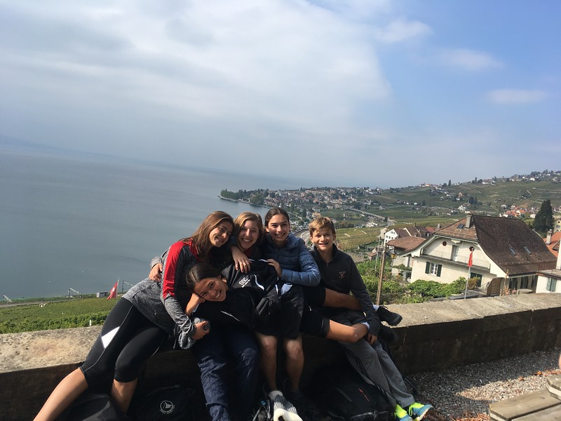 The vineyard bike trip (or what was left of them) Nora, Elina, Emerson, Caroline, and Ryan above Lake Leman