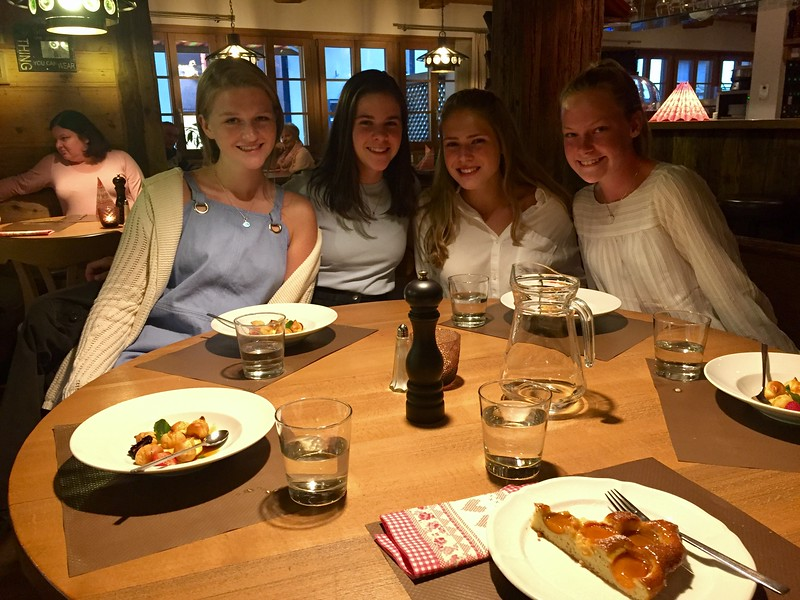 Laine, Aisling, Ava, and Helen enjoying advisor <br /> dinner at Pollux with Ms. Brouillac (taking the picture)