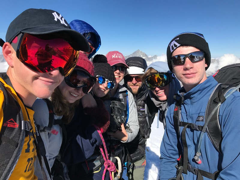On top of Breithorn (Thomas, Mia, Michael, Kate, Liza, Mr. Austen, Layton, and Riley).  What a beautiful day!