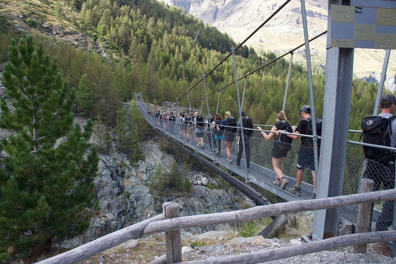 The geology lab walking across the suspension bridge above Furi