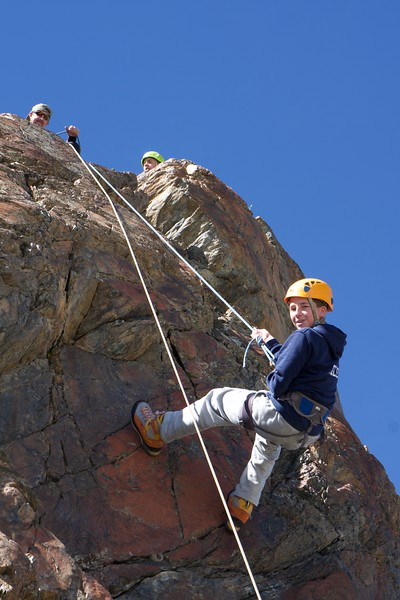 Max being belayed by Guide Martin