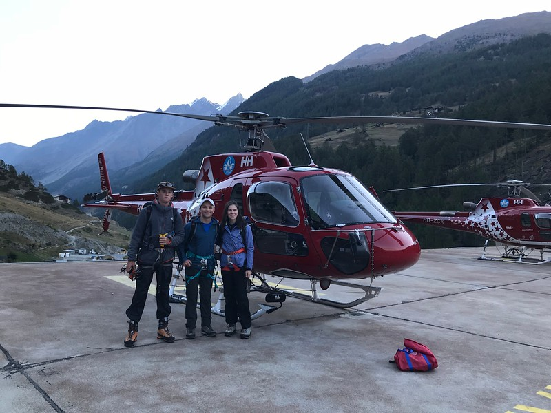 Jack, Mr. Taylor, and Aisling getting ready for the helicopter ride to the saddle of Alphubel