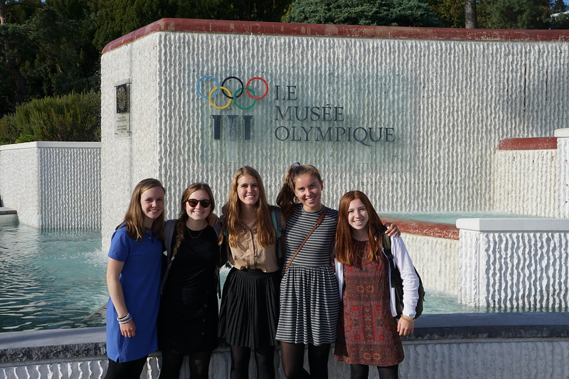 Constance, Terra, Ramsey, Bella, and Emily outside the Olympic Museum in Lausanne