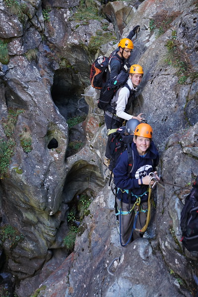 Christoph, Michael, and Luke in the dry gorge of Zermatt