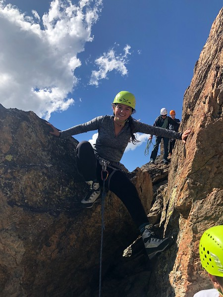 Nicole climbing down with Guide Christoph following with his group