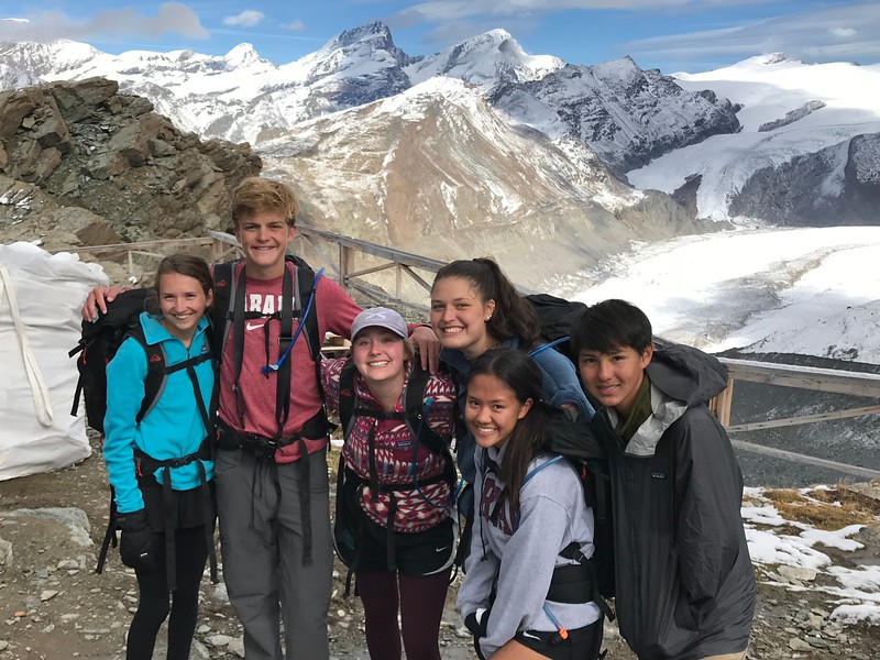 Mia, Ryan, Amanda, Lexi, Allison, and Michael during a long hike to Gandegg Hut