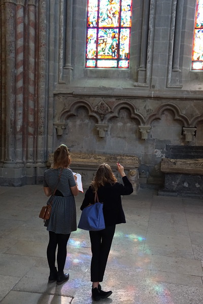 Bella and Mia looking at the stained glass windows