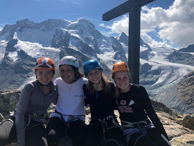 Liza, Lexi, Trixie, and Helen atop Riffelhorn on day one of climbing