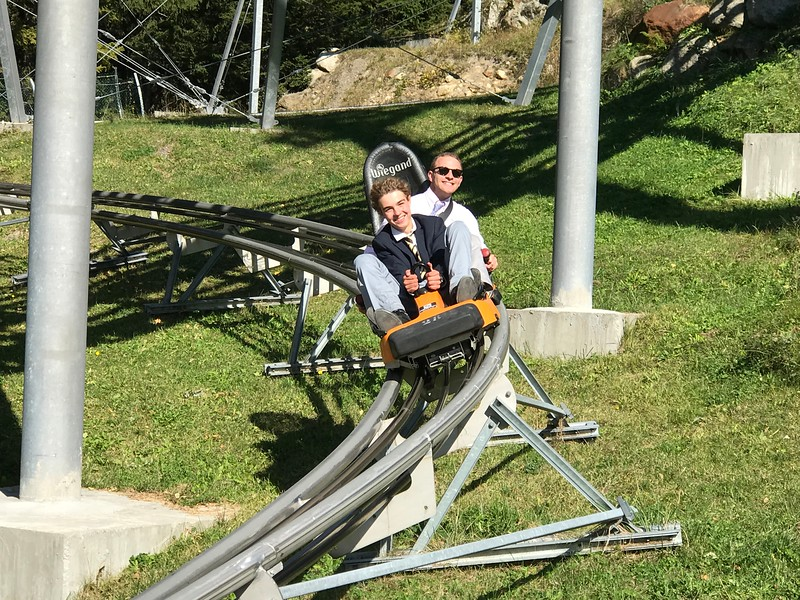 Edward and Mr. Taylor on the luge