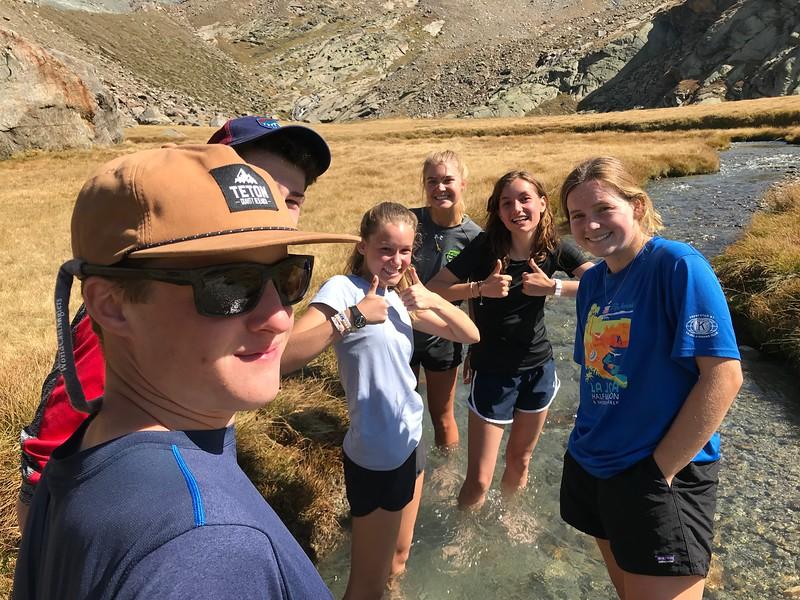 Jack, Riley, Lauren, Elsa, Sophia, and Terra taking the 2 minute glacier water challenge