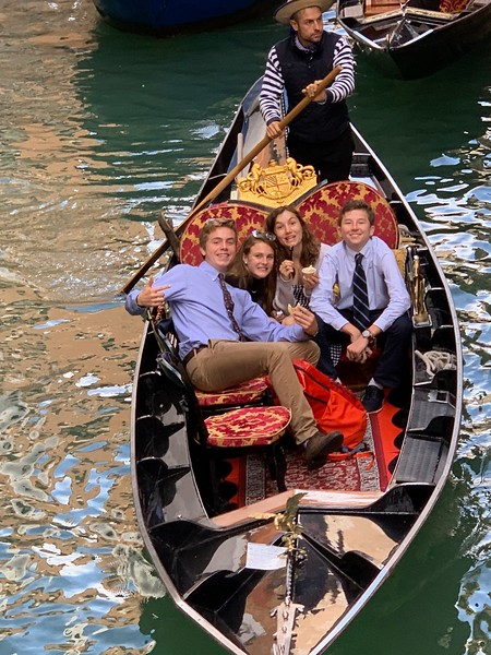 Michael, Kate, Sophia, and Max enjoying a gondola ride in Venice