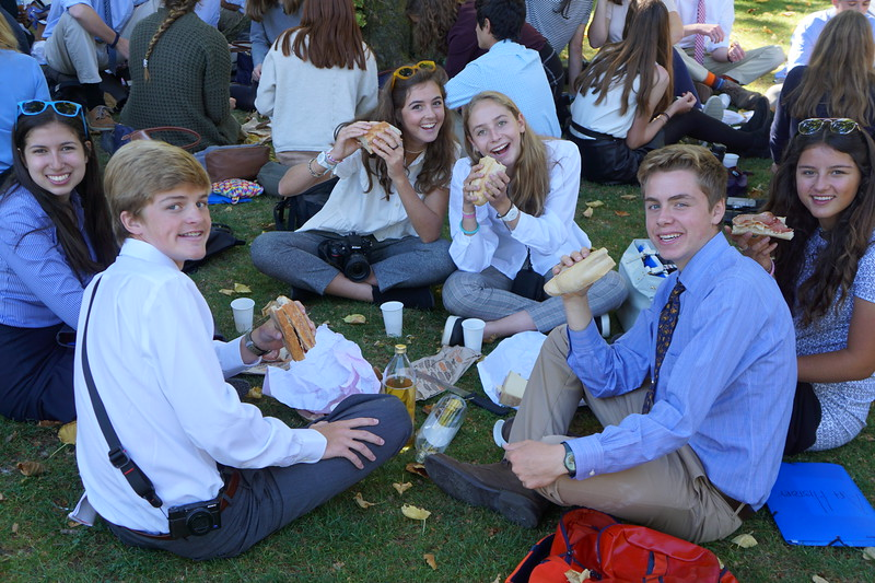 Francesca, Ryan, Ava, Trixie, Michael, and Nicole showing off their sandwiches