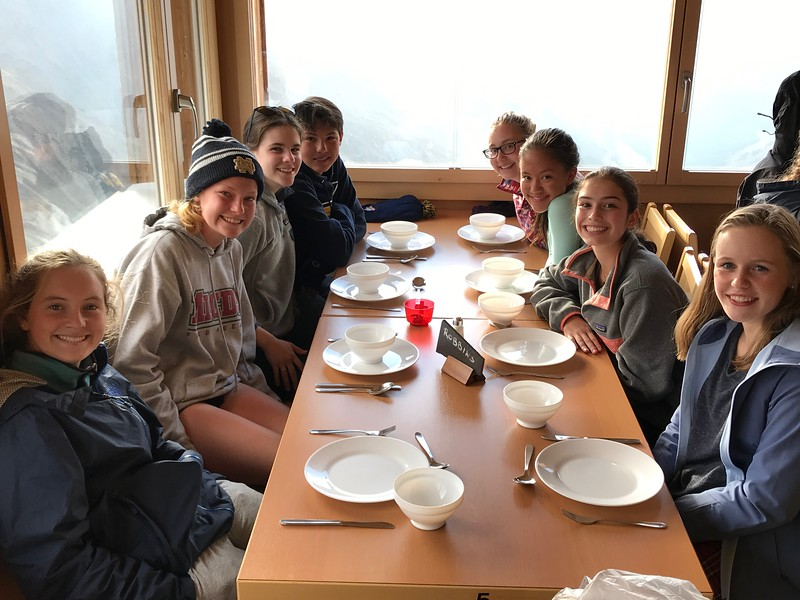 Awaiting dinner (Terra, Ellie, Aisling, Michael, Amanda, Allison, Caroline, and Constance)