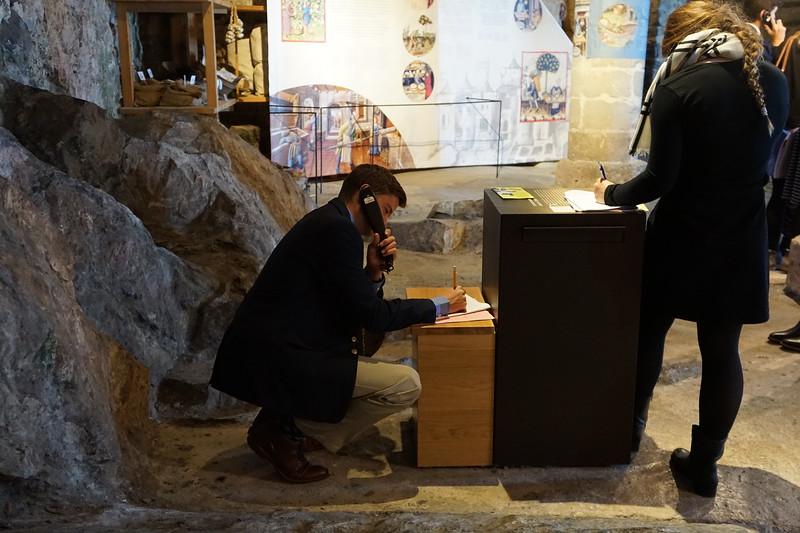 Matthew and Truett working inside the Chillon Castle