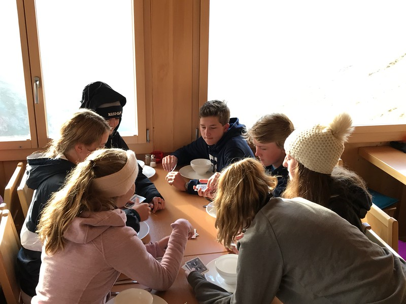 Playing more cards inside when it got a bit too cold to be outside (Trixie, Truett, Ava, Max, Luke, and Charlotte