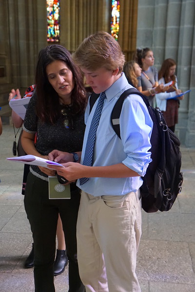 Ms. Cisternino working with Luke in the Cathedral