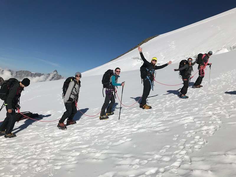Heading out with crampons (Edward, Nora, Ms. Espinosa, Elsa, and Mia)
