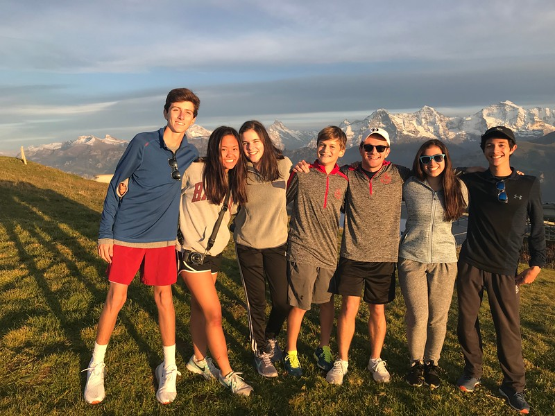 Will, Allison, Aisling, Ryan, Mr. Taylor,  Francesca, and Aidan in the setting sun of Niederhorn