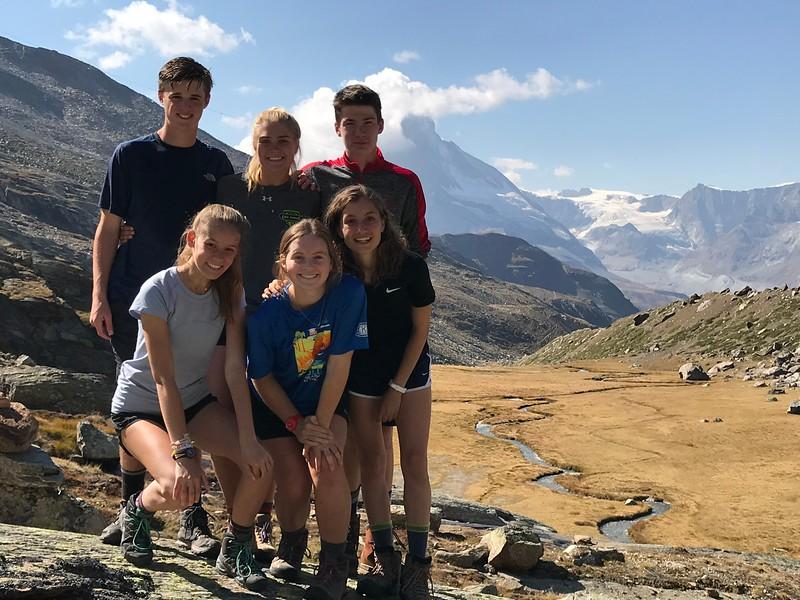 Jack, Lauren, Elsa, Terra, Riley, and Sophia with hidden valley behind