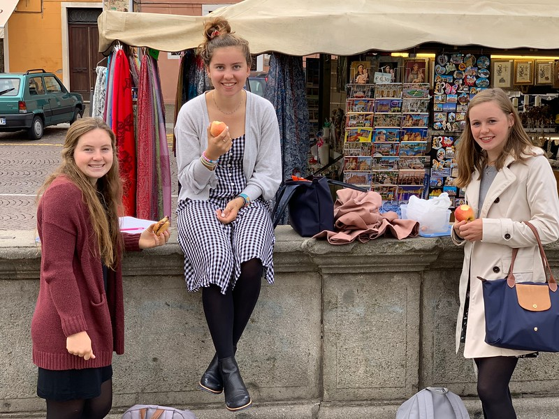Terra, Bella, and Constance enjoying lunch outside of San Antonio in Padua