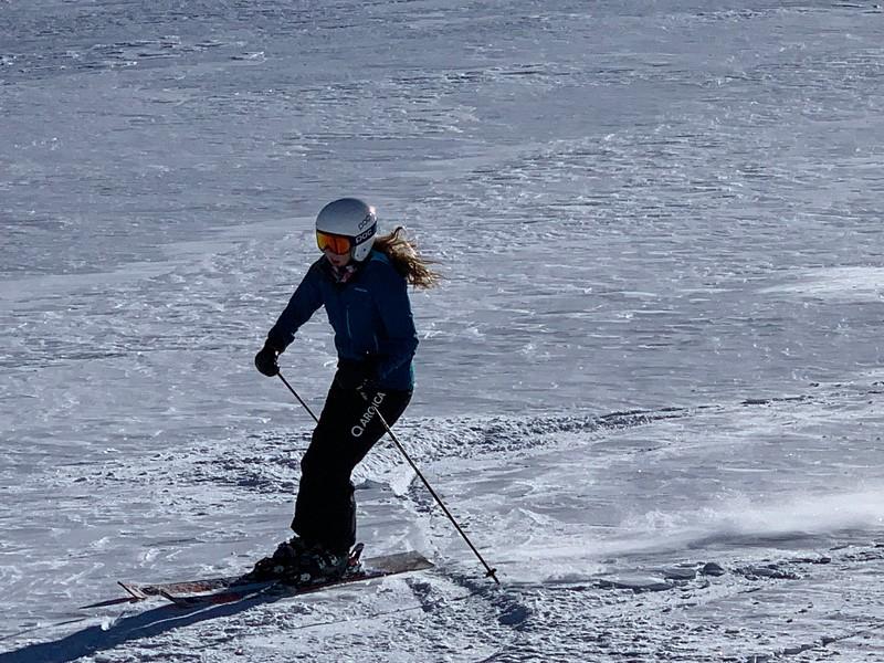 Liza skiing off-piste