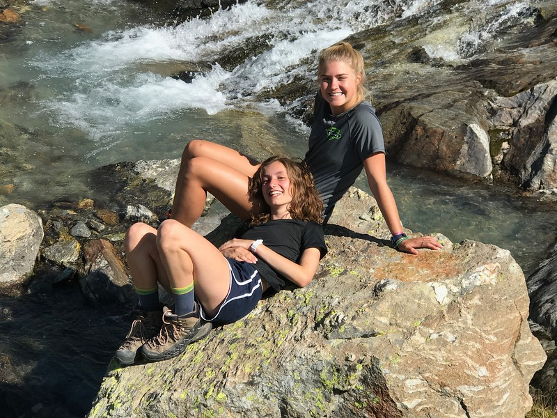 Sophia and Elsa at the waterfall in hidden valley