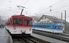 Rigi Railway Nos 21 (left) & 14, Rigi Staffel station, Mon 15 June 2015.  Awaiting departure to Vitznau and Arth-Goldau (No 14).