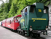 Brienz Rothorn Rly 0-6-0T No 14, Brienz, 20 June 2004 - 1341.  No 14 is one of two locos built for the BRB as recently as 1996 by the Swiss Loco and Machine Works (SLM), Winterthur.  It is oil-fired.  BRB trains always have just two coaches, with the loco at the rear.
