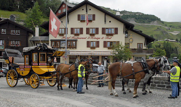 Saint Gotthard travel old style, 1: Post coach, Andermatt, Sun 9 July 2006.  (There are five horses!)