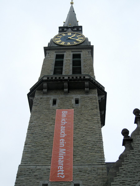 """Am I also a Minaret?"" Zürich<br /> <br /> In response to the recent vote to ban the construction of Minarets in Switzerland."
