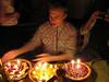 Leo's raspberry tart, Diane's pumpkin pie and my pecan pie . . . aka Kevin's birthday cakes!