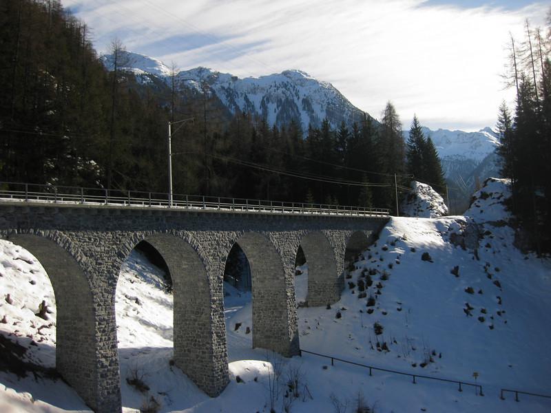 Preda to Bergün sledding run . . . passing under the 'Rhätishce Bahn' bridge (Rhaetian Train)