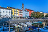Boats in the marina in the town of Ascona on Lake Maggiore, Ticino, Switzerland, Europe.