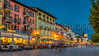 The town of Ascona at dusk on Lake Maggiore, Ticino, Switzerland, Europe.