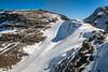 A ski run in the Bernina mountain peaks and the Diavolezza Glacier near St. Moritz, Switzerland, Europe.