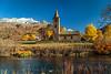 St Laurence church in Sils Segla Canton Graubunden, Engadine, Switzerland, Europe.