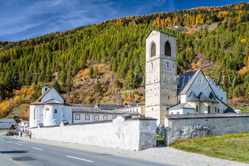 The Abbey of Saint John in Müstair, a village in the Val Müstair municipality in the district of Inn in the Swiss canton of Graubünden,Switzerland, Europe.