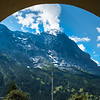 View of Jungfrau mountain from hotel garden