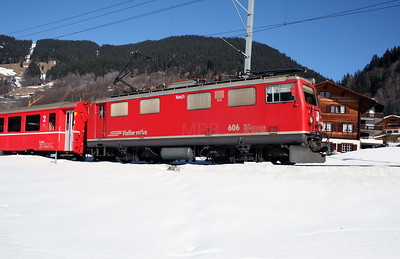 RhB, 606 at Klosters Dorf on 16th February 2008 (3)